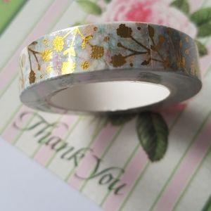 🆕 NEW Gold Flower Design Washi Tape 10mmx10m